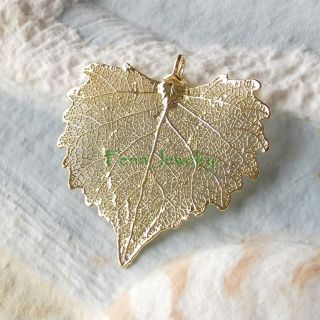 Real Cottonwood Leaf Pendant Necklace 24K Gold Sterling Silver Dipped