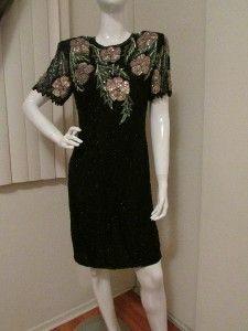Laurence Kazar Beaded Sequinned Trophy Silk Dress Black Pink Sz M