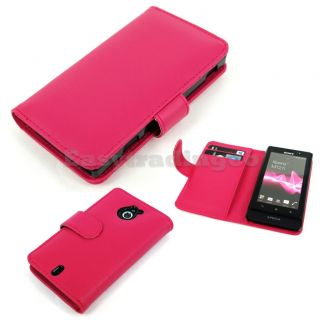 Hot Pink Book Agenda Type Leather Case Sony Xperia Sola MT27i with
