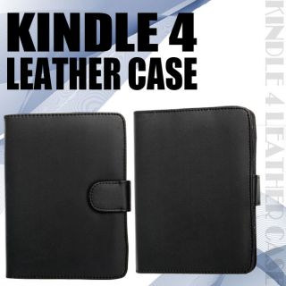 Black Leather Case Cover Wallet for  Kindle 4 4th Generation