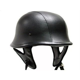 Leather Motorcycle Biker Half Helmet Beanie Shorty Helmets