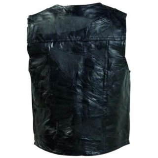 Mens Black Leather Motorcycle Biker Vest Fully Lined 2 Watch Pockets