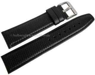 Roma Black Pinhole Oil Tan Heavy Pad Chrono Leather Watch Band Strap