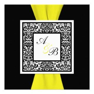 Black, White, Yellow Damask PRINTED RIBBON Personalized Announcement