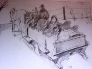 Leal Mack Original Charcoal Drawing Family Sleigh Ride