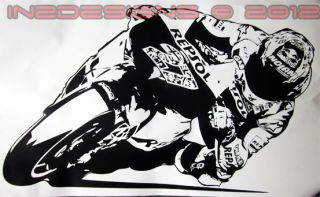 Casey Stoner Wall Repsol Art Decal Moto GP Large New Knee Down Design