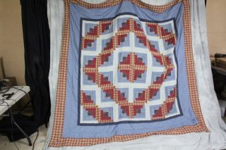 L370 Vtg Patriotic Cross w Flag Squares Red White Blue Quilt Hand