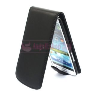 Black Flip PU Leather Case for Samsung i9300 Galaxy S3 III 3SCREEN