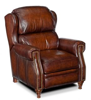 Burgundy Brown Leather Recliner Arm Chair