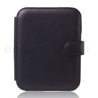Black Leather Case Cover for Barnes Noble Nook 2 Simple Touch 2nd