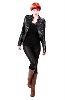 Face Womens New Trendy Black Brown Leather Military Jacket