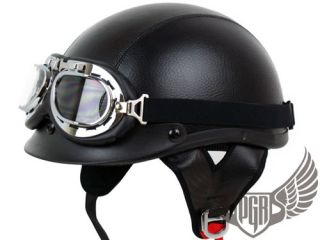 Black Leather PGR Motorcycle Helmet w Goggle Harley L