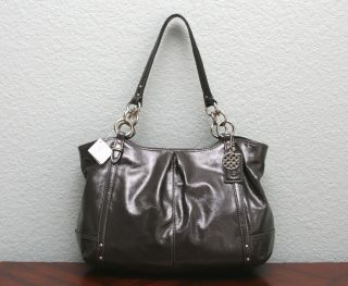 Coach $358 Patent Leather Alexandra Tote Shopper Bag 16231 Charcoal