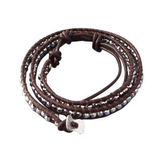 Silver Muse Crystal Tribal Wrap Leather Bracelet