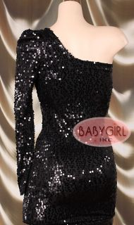 Leg Avenue Sexy Black Sequin One Shoulder Mini Party Dress Small