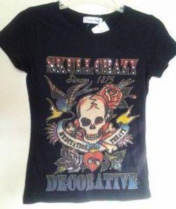 NWT Tattoo Print Black Hardy Style Tee Bling Skull Sparrow Dice Roses