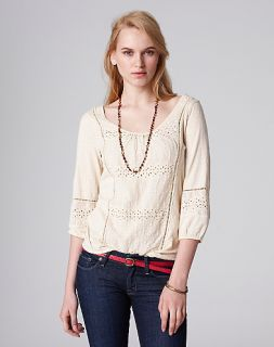 Lucky Brand Women Chloe Embroidered Floral Eyelet Lace Top Shirt