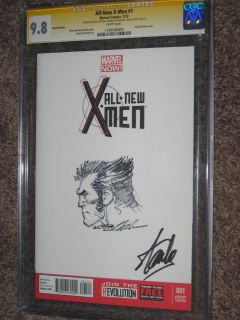 MEN #1 CGC 9.8 SS WOLVERINE Art Sketch STAN LEE/NEAL ADAMS ~MARVEL NOW