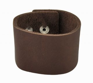 Solid Plain Leather Wristband Bracelet Wrist Band Color Brown