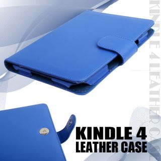 Blue Leather Case Cover Wallet for  Kindle 4 4th Generation 2011