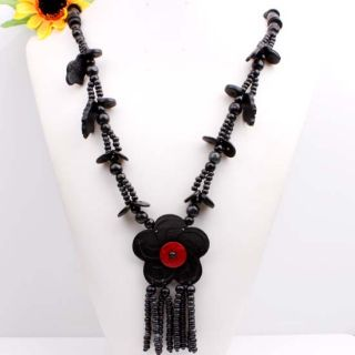 Black Coconut Shell Wooden Leaf Flower Pendant Necklace