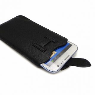 Black PU Leather Pouch Sleeve Bag Pull Tab Case for Samsung Galaxy