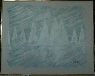 Beautiful Large Lee Reynolds Sailboats Acrylic Painting