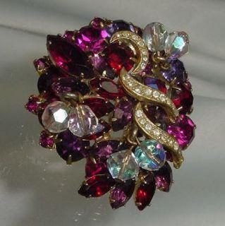 RARE Kramer of New York Crystal Rhinestone Pin Brooch