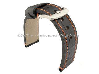 Black Orange Genuine Leather Watch Strap Band Croco Grand Panor