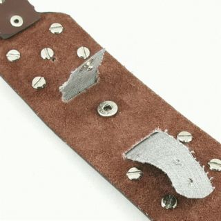 K0034 Punk Rock Cross Wide Leather Watch Band Strap Brown Black Pink