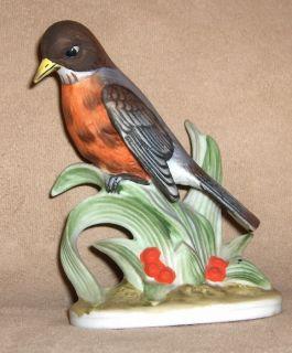 Vintage Lefton Robin Bird Porcelain Figurine KW 464