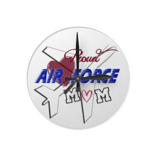 Proud Air Force Mom  Love & Airplane Round Clocks
