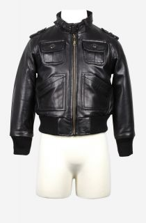 Boys New Genuine Black Lambskin Leather Jacket Sz 2T 12