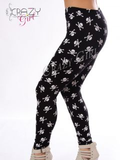 Skull Cross Bone Pirates Print Full Length Leggings Size 8 18