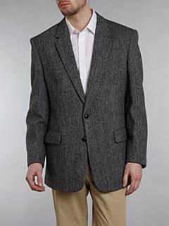Harris Tweed Single breasted herringbone blazer Black