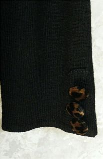 Nina Leonard Long Black Button Fr Knit Sweater Dress M Leopard Trim