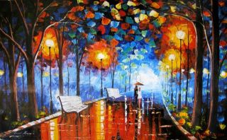 Leonid Afremov Misty Mood Rain Park Original Oil Painting on Canvas