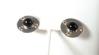 Leonore Doskow Onyx Sterling 14k YG Star Round Earrings Gift Boxed