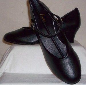 Leos Dancewear Ladies Black Strap Heel Dance Shoes