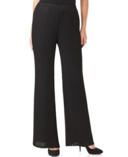 Sunny Leigh New Black Solid Chiffon Pleated Wide Leg Lined Dress Pants
