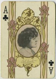 Mrs Leslie Carter Vintage 1908 RARE Single Playing Card Stage Actress