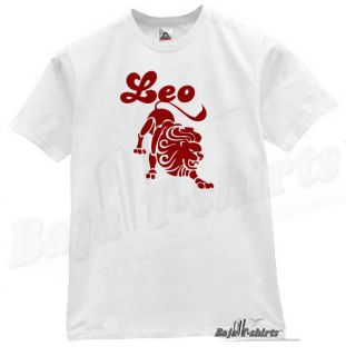 Leo Zodiac Sign T Shirt Cool Funny Retro Tee White L
