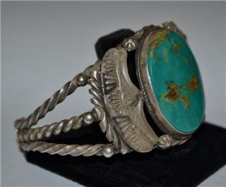 Native American Signed Leonard H Bracelet Large Beautiful Turquoise