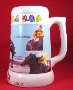 Saratoga Springs Race Track Horse Beer Stein Mug Lemon Drop Victory