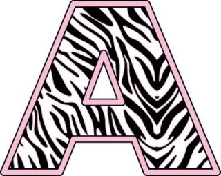 Baby Pink Zebra Alphabet Letters Removable Wall Sticker Vinyl Decal