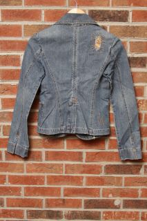 New Level 99 Denim Jean Blazer Distressed Wrap Jacket Coat Shirt Top