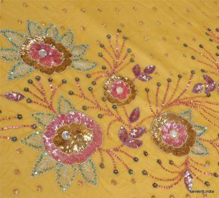 DESIGN FABRIC HAND BEADED FLORAL INDIAN CRAFT ART DECOR SEQUINS LEMON