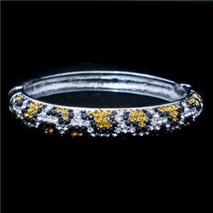 Leopard Print Bracelet Bangle Cuff w Swarovski Crystal