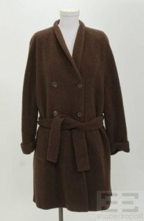 Les COPAINS Brown Wool Alpaca Button Front Belted Coat Size 40