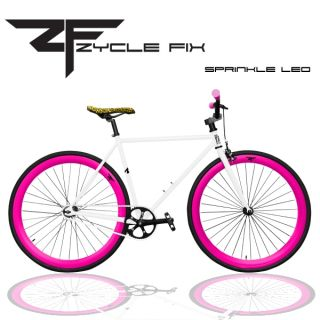 Gear Bike Fixie Bike Track Bicycle 52 cm w Deep Sprinkled Leo